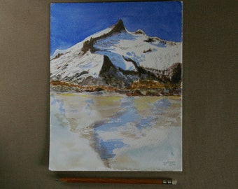 Snow Lake --Pyrénées-France-Landscape Watercolor Painting-Original