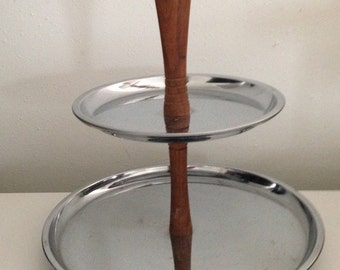2 Tier Serving Tray | 2 Tier Candy Dish | Appetizer Serving Dish | Mid Century Modern Metal and Wood | Danish Kitchen