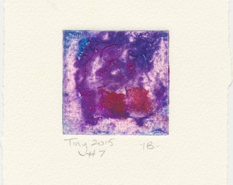 Monotype collagraph Tiny 2015 series #7 cobalt violet blue and splash of red affordable original abstract art