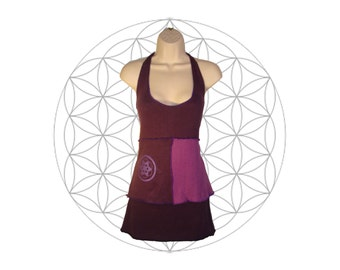 Organic cotton and Hemp Halter top -Seed of Life Print - Handmade and dyed - Custom made to order Organic cotton and Hemp jersey