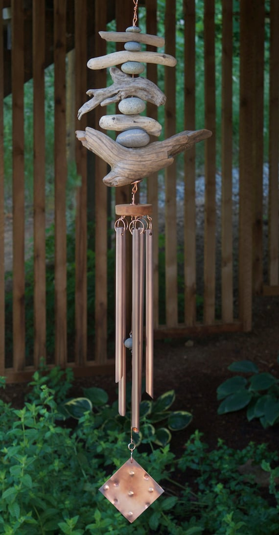 Wind Chime Driftwood Beach Stones Copper Wind Chimes