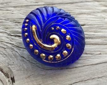 Czech glass button cobalt blue and gold  27mm