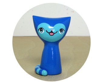 Blue Striped Kitty Figurine - Collectible Miniature Resin Figure
