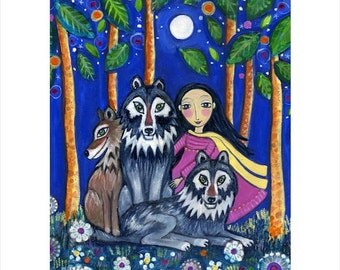 """Large Wolf art print girl and wolf wall decor pack children's wall decor kids wall decoration whimsical folk art gift for friend """"The Pack"""""""