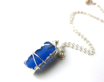 Modern Blue Chalcedony Bar Necklace - Cobalt Blue Line Necklace - Wire Wrapped Chalcedony Pendant - Sterling Silver Chain