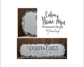 CUSTOM NAME SIGN, Family Name Sign, Personalized Name Sign, Ornamental Design, Shabby Chic Name Sign, Wood Sign, Established Sign, Rustic