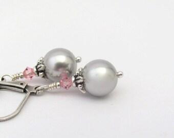 Silver Gray Pearl Earrings, Swarovski Crystal Pearls, Pink Gray Earrings, Silver Plated Lever Back Earrings, Clip On Earrings Available