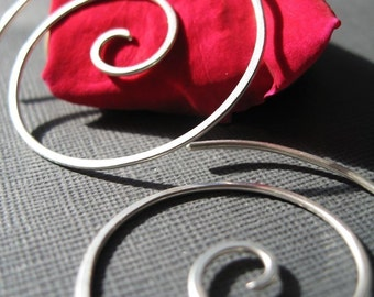 Sterling Silver Large Hammered Spiral Earrings