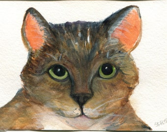 Cat Watercolor Painting original, small cat art, original watercolor painting of tabby cat, tabby cat artwork 4 x 6