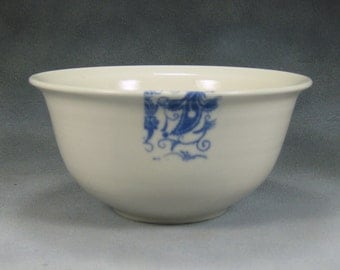 22 oz Blue and White Noodle Bowl, Pho Bowl, Rice Bowl, Soup Bowl, Stir Fry Bowl Hand Thrown Porcelain Pottery 1
