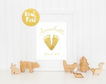 Custom Nursery Decor / New Baby Gift / Gold Foil Baby Feet Print / Custom Nursery Print / Personalized Nursery Print / Actual Foil