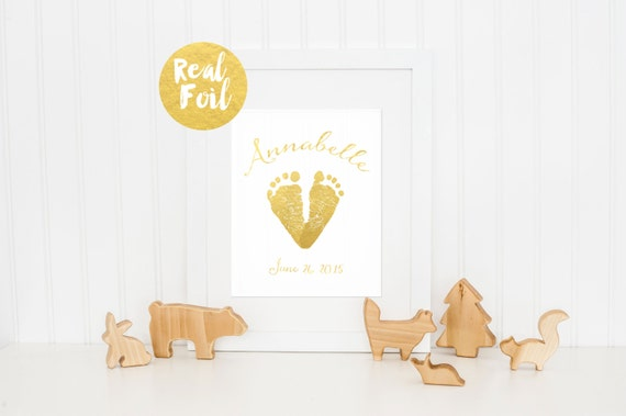 Baby Gift Gold : Custom nursery decor new baby gift gold foil feet
