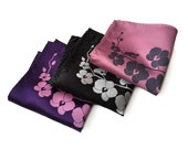 Orchid flower pocket square. Men's screenprinted handkerchief. Microfiber hanky. Your choice radiant orchid, eggplant, black & more!