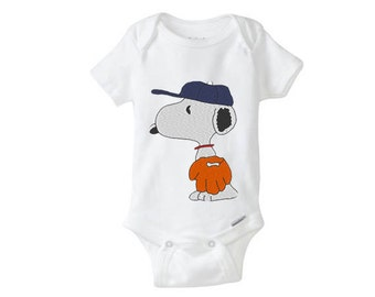 BASEBALL Snoopy Embroidered Baby Boy Girl Onesie - personalized onesie, custom name onesie