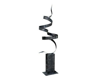 Charcoal Abstract Metal Sculpture, Modern Freestanding  Garden Art, Indoor Outdoor Decor - Smoke Twist Unplugged by Jon Allen