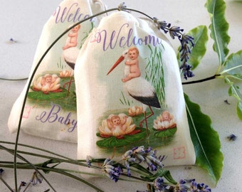 Lavender Sachets Party Favors | Vintage Stork | Baby Shower | Full Color Thank You Gifts | Not Stamped | Cotton Sachets | Vintage Stork