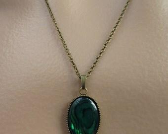 Paua Shell Necklace. Paua Shell Cabochon. Green Shell Necklace. Iridescent Necklace. Antiqued Brass Necklace
