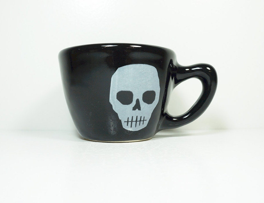 12oz cup voodoo skull, white print on our blackest black glaze, made to order.