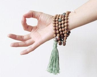 Sandalwood mala, green agate, grey pearl 108 wood beads long handmade tassel necklace
