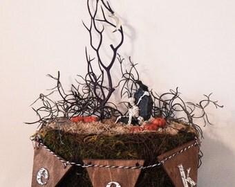 Skeleton Halloween Arrangement , Found Object Sculpture with a Skeleton, Whimsical Halloween Decor