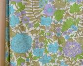 Vintage Floral Fabric Lightweight Cotton Blend / Blue Green Flowers 2+ Yards Summer Print