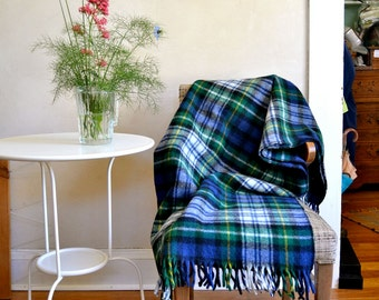 Vintage Wool Throw Faribault Blue Green Plaid Fringed Small Blanket / Camping or Picnic