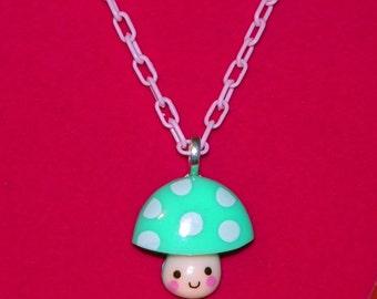 Teal and Pink Kawaii Mushroom Necklace