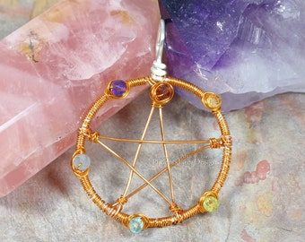 Chakra Pentacle Pendant Pentagram Necklace Rainbow Copper Wire Wrapped Jewelry Occult Pagan Wiccan Witchcraft Ritual Metaphysical Star RTS