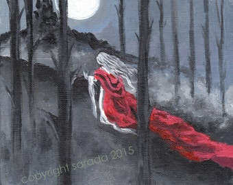 Gothic horror vampire painting full moon forest long red crimson cloak, haunted castle, black and white grey autumn Halloween art 8 x 8 inch