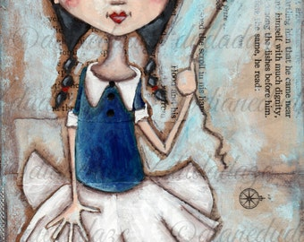 Print of my original folk art, Girls with Heart mixed media painting -  Hold On Tight - 5 x 10
