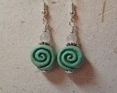 Greek Coil Scroll Ceramic Bead Earrings Medium to Dark Green on silver