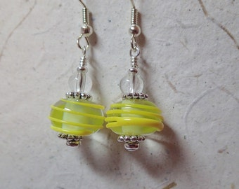 Clear with Yellow Applied Swirl Glass Earrings on silver