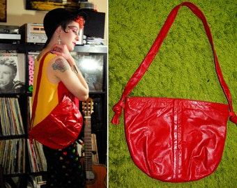 BIG Red 1970's 80's Vintage Large Solid Red Leather Shoulder Purse with Knotted Straps // Sexy PUNK