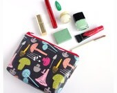 Mushroom Print Cosmetics Bag, unusual and colourful make up bag with hand drawn repeat pattern with waterproof pvc coating