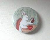 Coffee and a Book -  1.5 inch Pinback Button - Bunny Rabbit