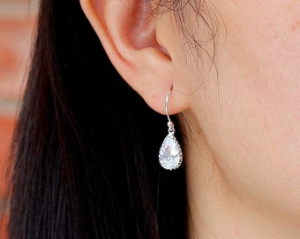GOLD drop Earrings, CZ Cubic Zirconia Earrings, Simple jewelry,  Birthday, Wedding jewelry, Mother Jewelry, Bridesmaid gifts