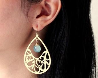 Personalized Large Teardrop Earrings / Gold or Silver Modern Boho Earrings, Blue Aqua Chalcedony / Customized Birthstone Earrings