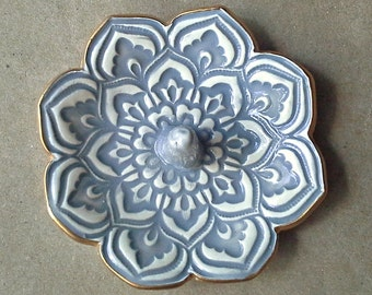Gray Lotus Ceramic Ring Holder Bowl gold edged