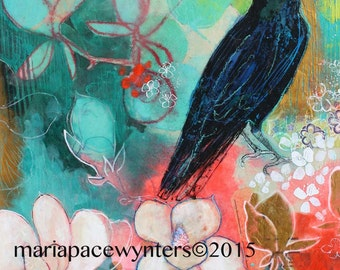 Crow and Magnolias- Original mixed media/encaustic painting by Maria Pace-Wynters