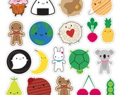 Kawaii Vinyl Stickers - Die cut - food, space