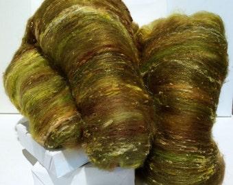 "yellow green fiber art batt, roving needle nuno felting wool, spinning fiber ""Salsa Verde"" Tomatillo topaz jalapeno pepper sienna olive gold"