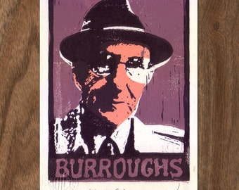 William Burroughs Linocut Print - Handpulled