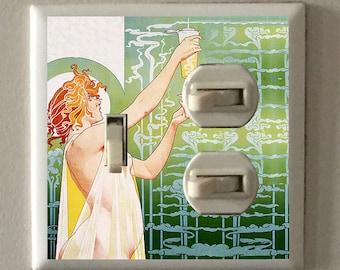 "Art Nouveau - Henri Privat-Livemont ""Absinthe Robette"" Green and Cream Colored - Single Toggle Light Switch plus Plug Plate"