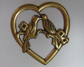 2 Large Brass Hearts with 2 Birds on a Branch Stampings / Findings