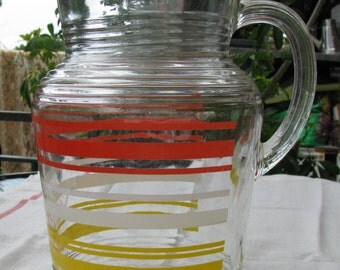 Vintage Fifties Red, White & Yellow Juice Pitcher