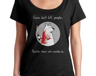 Machete Bear Scoop Neck Tshirt - Cute Shirt