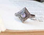 Edwardian Gemstone Ring with Rose Cut Amethyst Oxidized in Sterling Silver