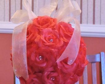 "Glitter Icy Rose Pomander, 6.5"", crystals, wedding, pew, flower girl, bridesmaids, centerpiece top"