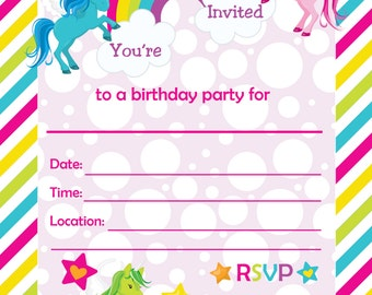 Fill In Birthday Party Invitations, Printable Rainbows and Unicorns Invitations, Blank Party Invitation - Instant Download