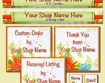 Premade Etsy Shop Banner  Set - Etsy Shop Banner - SHOP ICON - Shop Profile Photo - Bright Floral Elements - Raggedy Dreams Etsy Shop Design